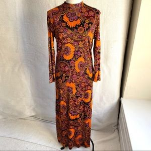 Vintage 60s 70s M Psychedelic Print Maxi Dress